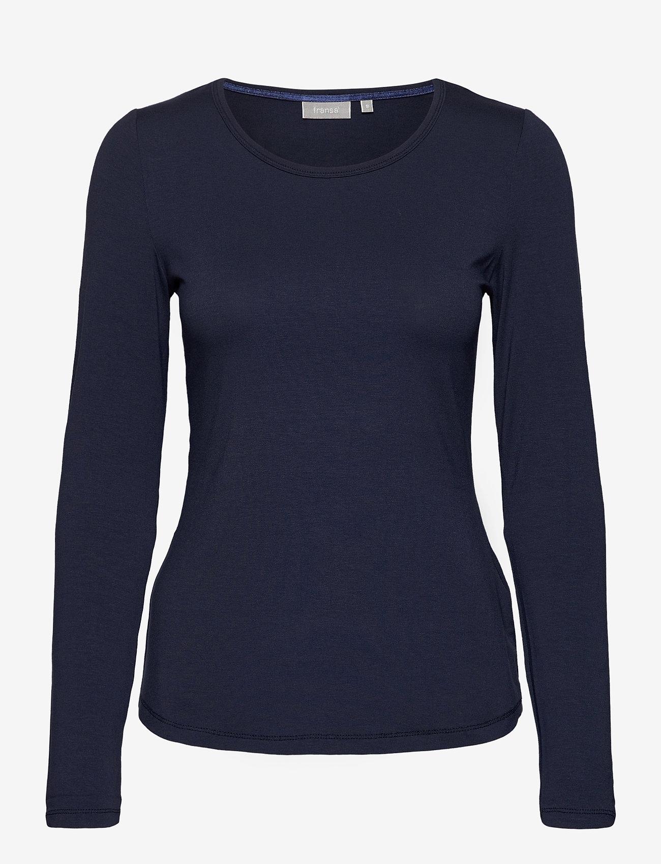 Fransa - Kasic 1 Tshirt - pitkähihaiset t-paidat - dark peacoat - 0