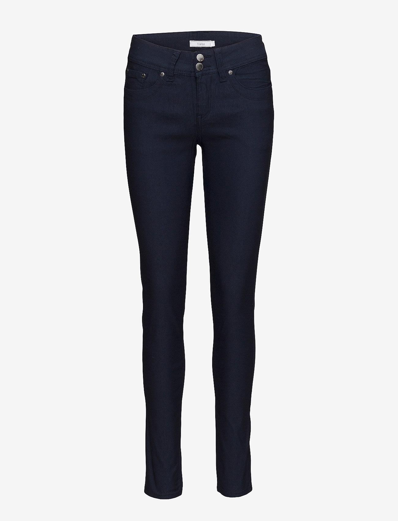Fransa - Zalin 1 Pant - trousers with skinny legs - dark peacoat - 0