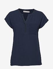 Fransa - Zawov 2 Blouse - t-shirts - black iris - 0