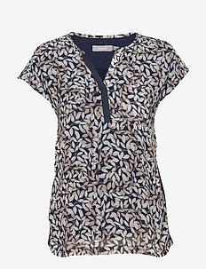 Zawov 8 Top - blouses korte mouwen - navy blazer with leaves