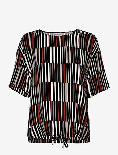 FRLACAMPA 2 Top - short-sleeved blouses - barn red striped