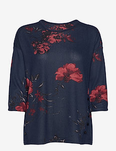 FRLEFLOWER 1 Top - short-sleeved blouses - dark peacoat flower