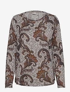 FRMESOFT 1 Pullover - langermede topper - light grey mel. w. paisley