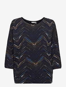 FRMETRIBE 2 T-shirt - langermede topper - dark peacoat mix