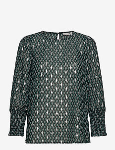 FRNAGRAPHIC 2 Blouse - long sleeved blouses - green graphic mix