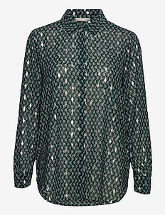 FRNAGRAPHIC 3 Shirt - long-sleeved shirts - green graphic mix