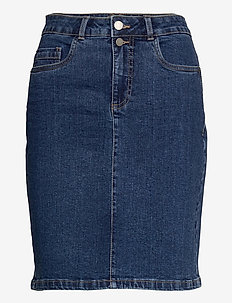 FRVOCUT 3 Skirt - jeansrokken - glossy blue denim