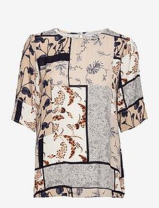 FRVACRINKLE 3 Blouse - blouses met korte mouwen - navy blazer mix