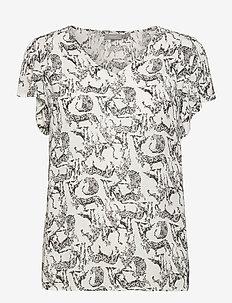 FRALCRINKLE 4 Blouse - blouses met korte mouwen - birch mix