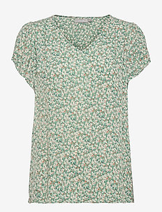 FRALCRINKLE 4 Blouse - blouses met korte mouwen - clover green mix