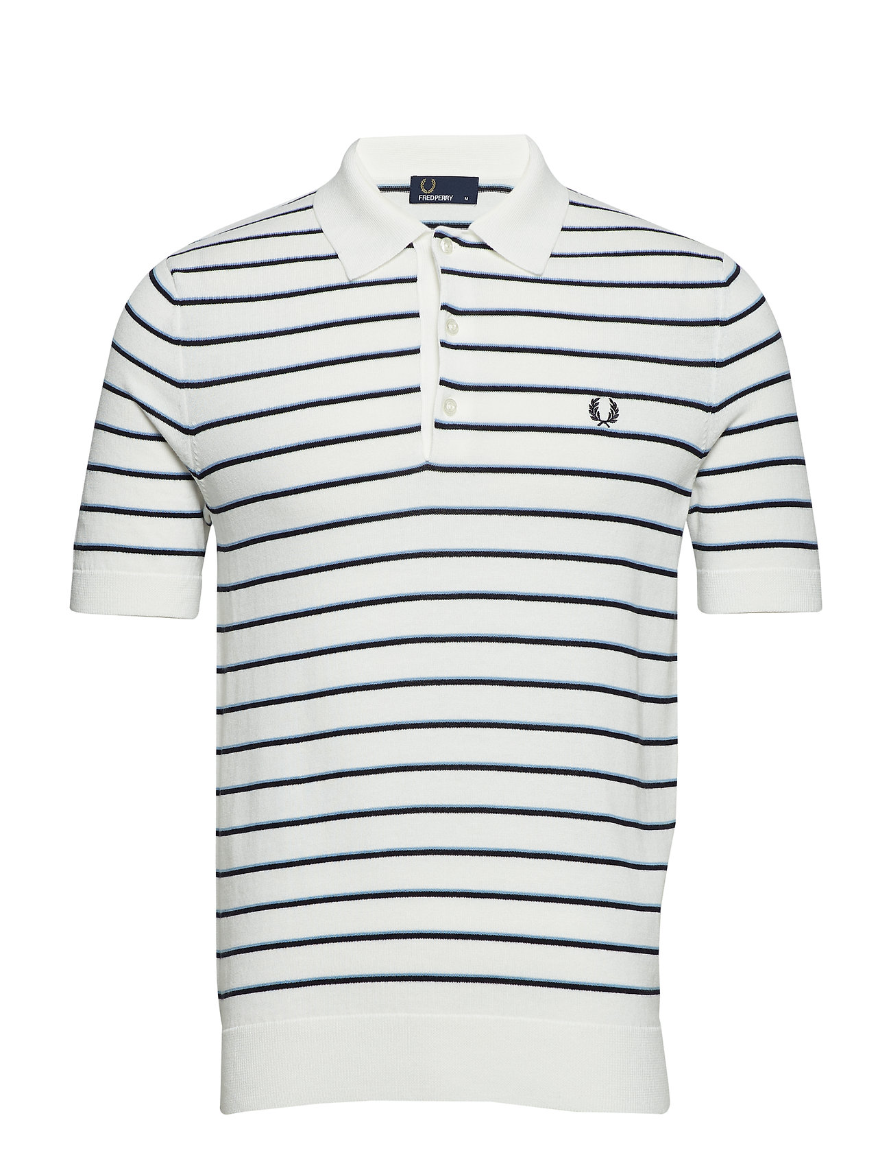 Fred Perry STRIPE KNITTED SHIRT - SNOW WHITE