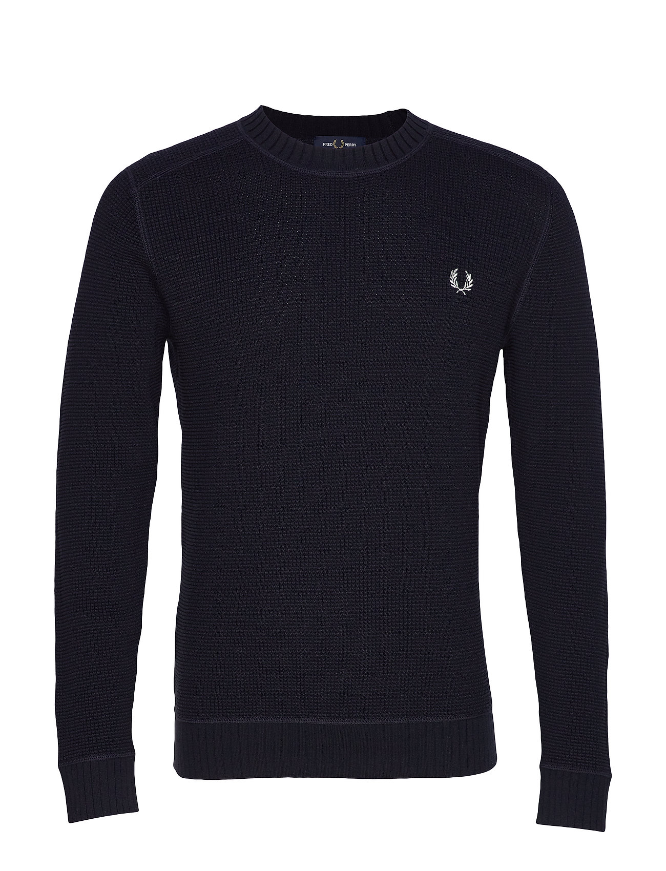 Fred Perry WAFFLE CREW NECK JUMPER - NAVY