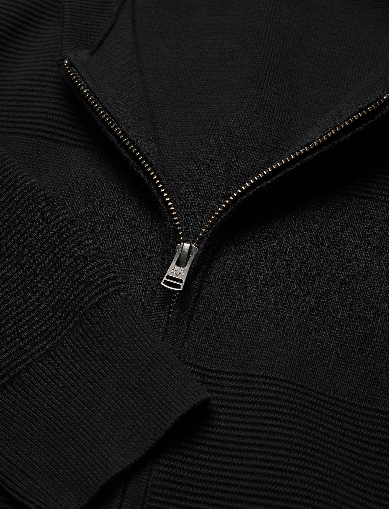 Fred Perry TEXTURED KNIT. BOMBER JKT - Strikkevarer BLACK - Menn Klær