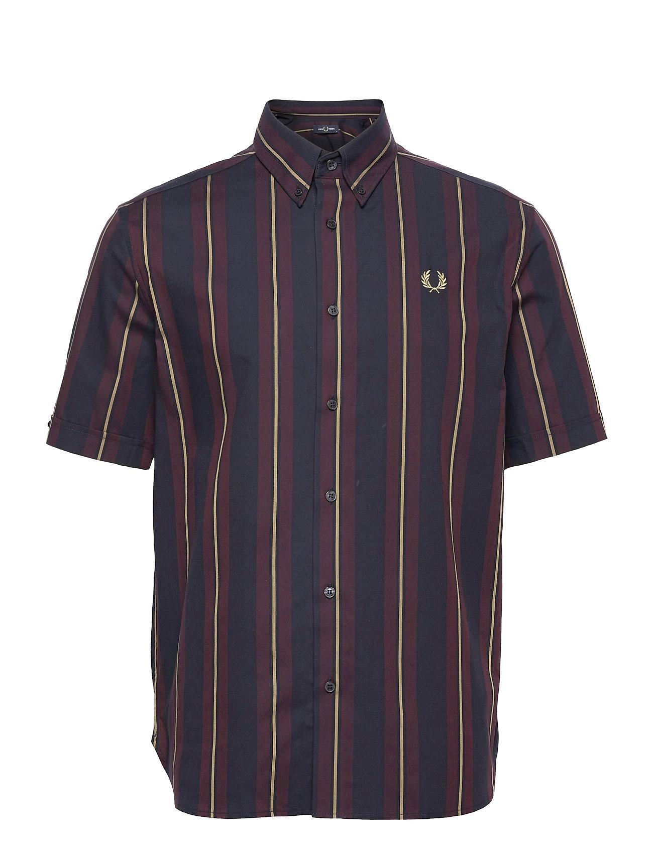 Stripe S/S Shirt Kortærmet Skjorte Blå Fred Perry