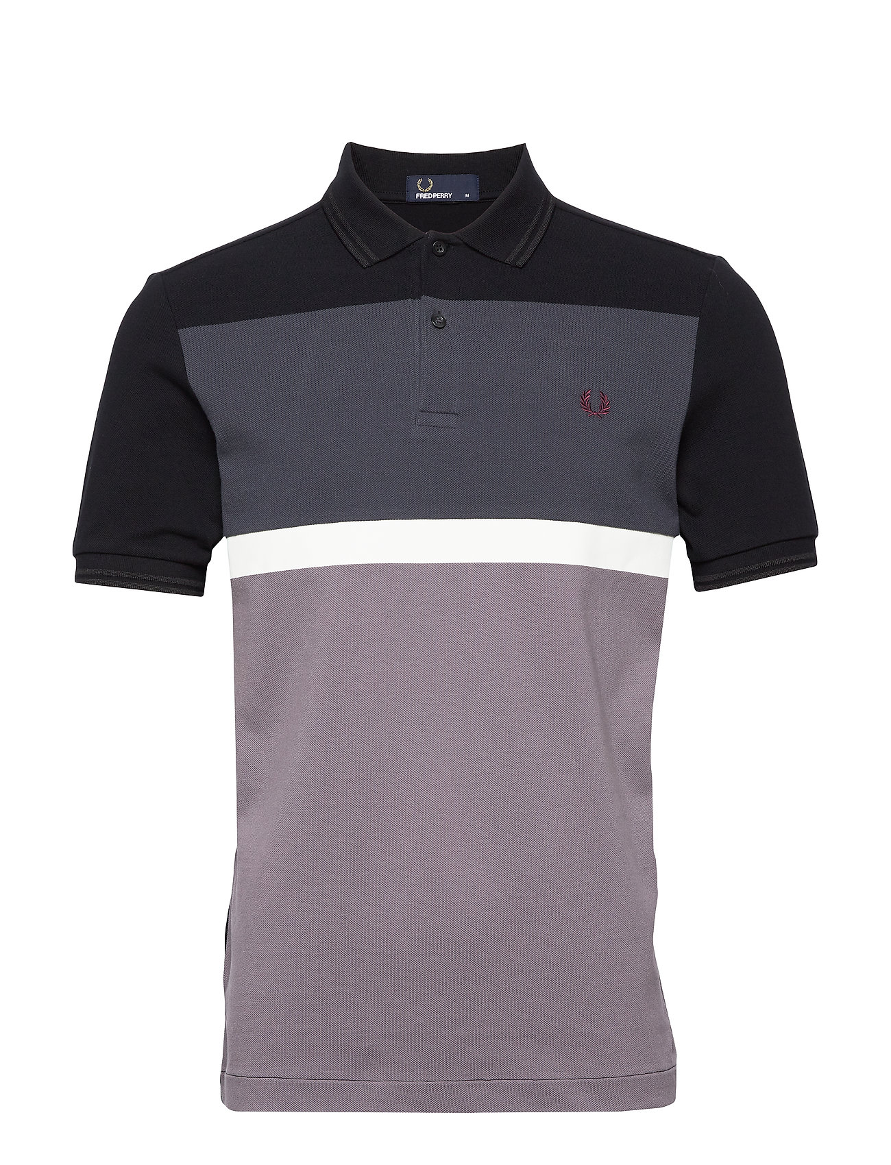 Fred Perry PANEL PIQUE SHIRT - BLACK
