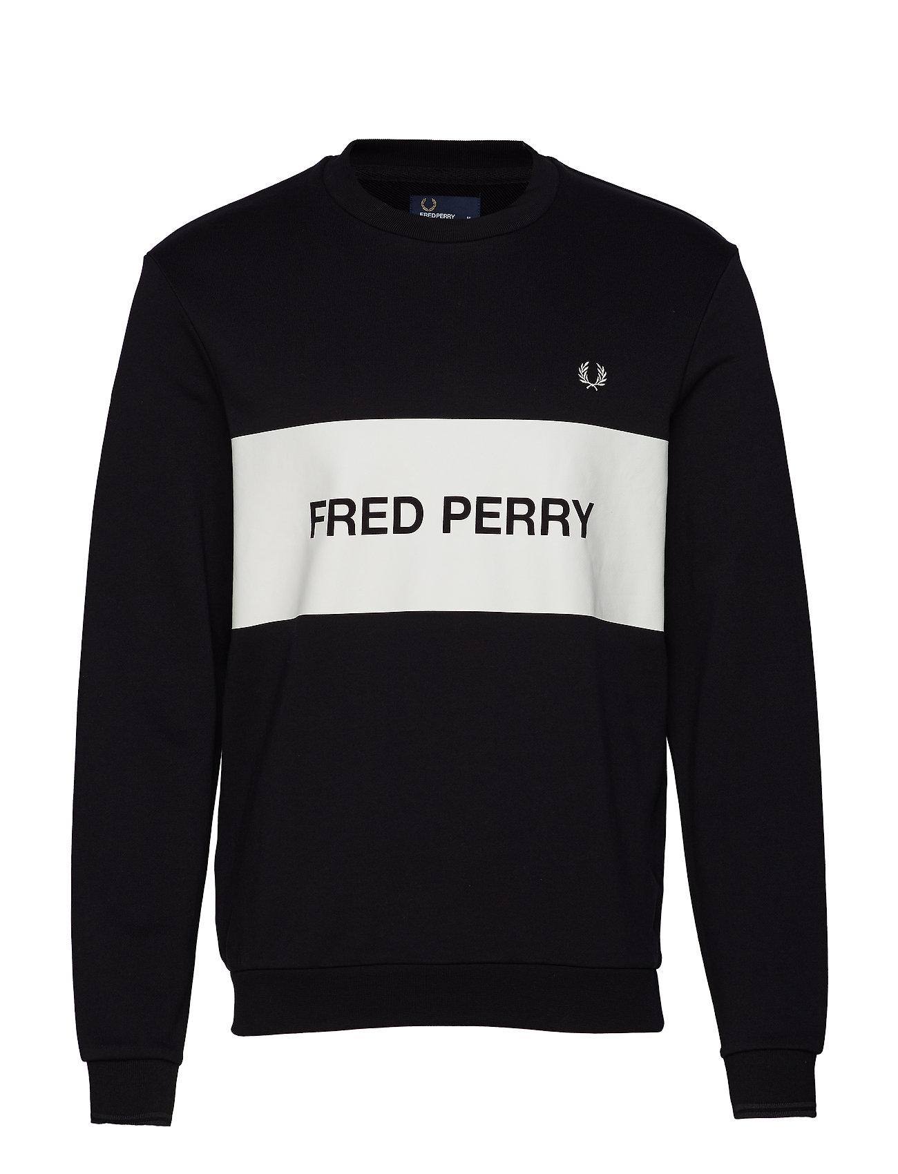 Fred Perry PRINTED PANEL SWEATSHIRT - BLACK