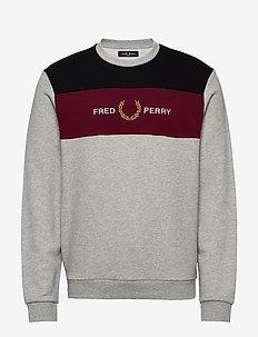 EMB PANEL SWEATSHIRT - sweatshirts - marl grey