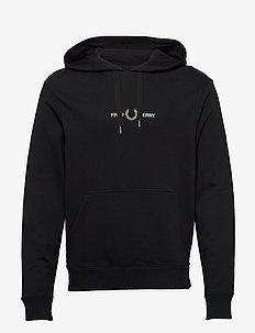 GRAPHIC HOODED SWEAT. - basic sweatshirts - black