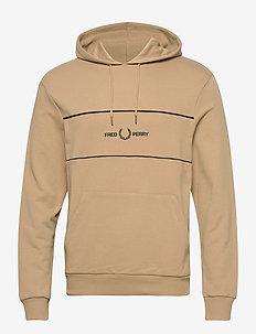 EMB PANEL HOODED SWEAT. - basic sweatshirts - warm stone