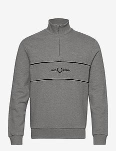 EMB PANEL HALF ZIP SWEAT. - basic sweatshirts - steel marl