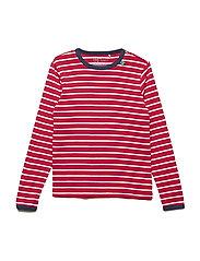 Stripe l/sl T - RED/CREAM