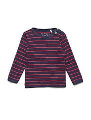 Stripe l/sl T baby - NAVY/RED