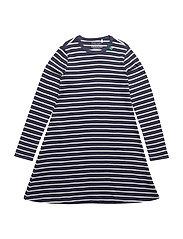 Stripe l/sl dress - NAVY/CREAM