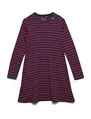 Stripe l/sl dress - NAVY/RED