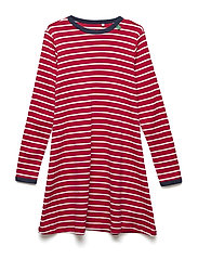 Stripe l/sl dress - RED/CREAM