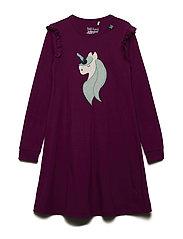 Unicorn applique dress - BORDEAUX