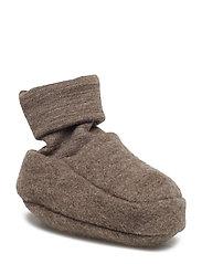 Wool fleece booties - WALNUT