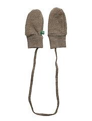 Wool fleece mittens - WALNUT