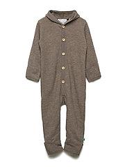 Wool fleece suit with hood - WALNUT