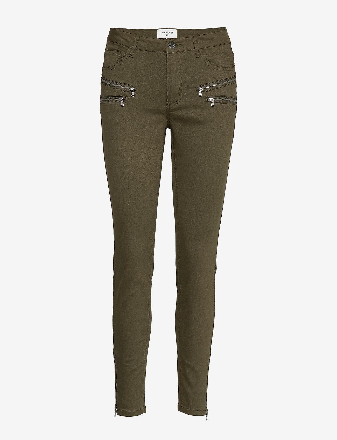 FREE/QUENT - FQAIDA-PA-7/8 - pantalons slim - olive night 19-0515 - 0