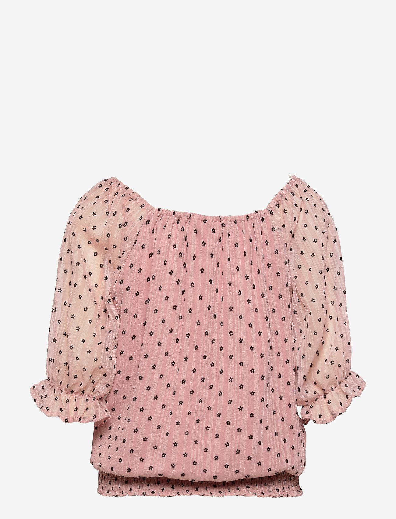 FREE/QUENT - FQLEVA-BL - langærmede bluser - silver pink w. black - 1