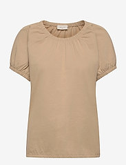 FREE/QUENT - BETINA-O-SS-SOLID - t-shirts - beige sand as cut - 0