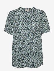 FREE/QUENT - FQADNEY-SS-BL-LUMI - blouses met korte mouwen - chambray blue mix - 0