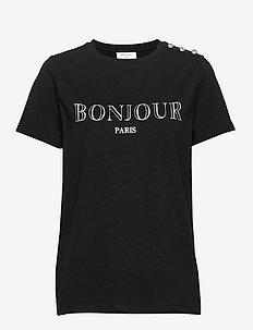 BONJOUR-TEE-SUSTAIN - t-skjorter med trykk - black w. silver