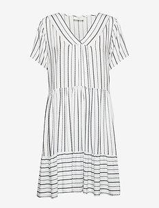 FQDEA-DR - do kolan & midi sukienki - white w. navy blazer