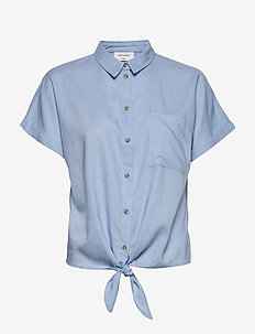 FQHELLA-SH-TIE - kortermede skjorter - chambray blue