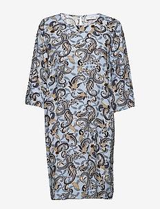 FQBELA-DR-3/4 - do kolan & midi sukienki - chambray blue mix
