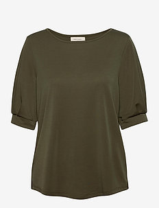 FQYR-1/2-PUFF - short-sleeved blouses - olive night 19-0515