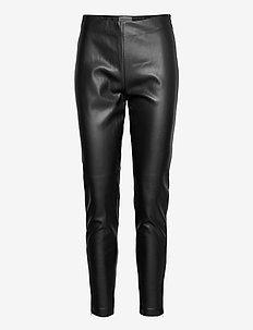 FQHARLEY-ANKLE-LE - spodnie skórzane - black
