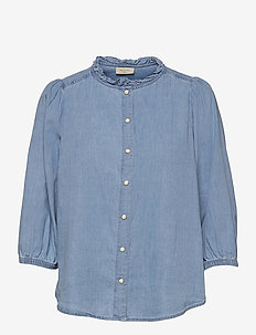 FQDOBBY-BL-FRILL - blouses met lange mouwen - light blue denim