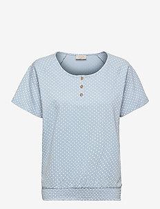 FQBETINA-SS-SMOCKIE-DUTO - kortærmede bluser - chambray blue w. white