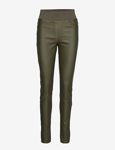 FQSHANTAL-PA-COOPER - pantalons en cuir - olive night 19-0515