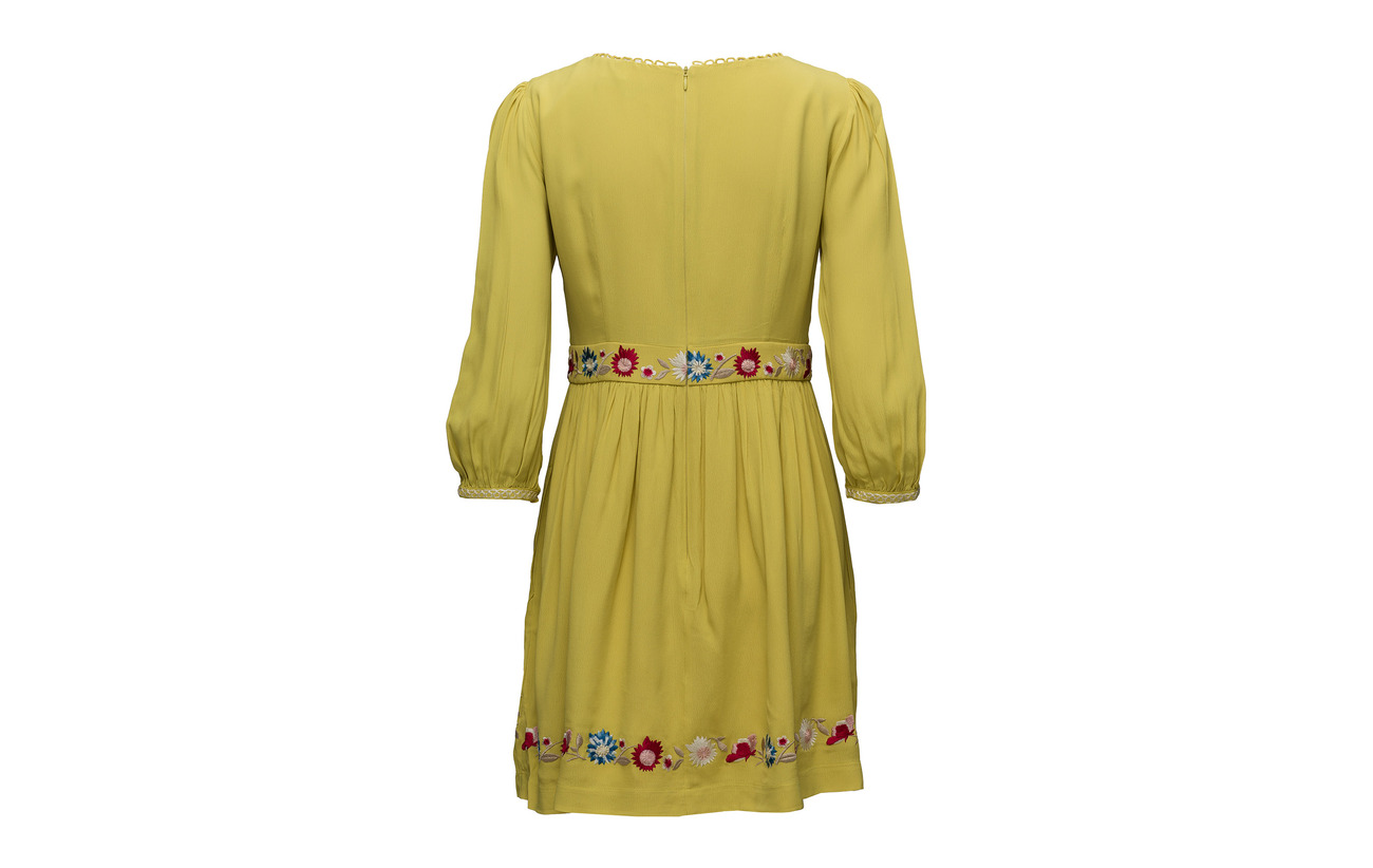 Saya 100 Roundneck Connection Viscose Dress French Crepe Dark Flared Citron 7Oqx16U