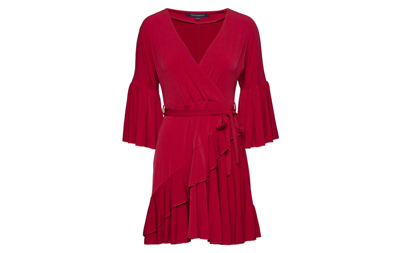 5 Deep Jersey Wrap Connection Polyester Vnck French 95 Ellette Framboise Elastane Dress YOnvxxSWB