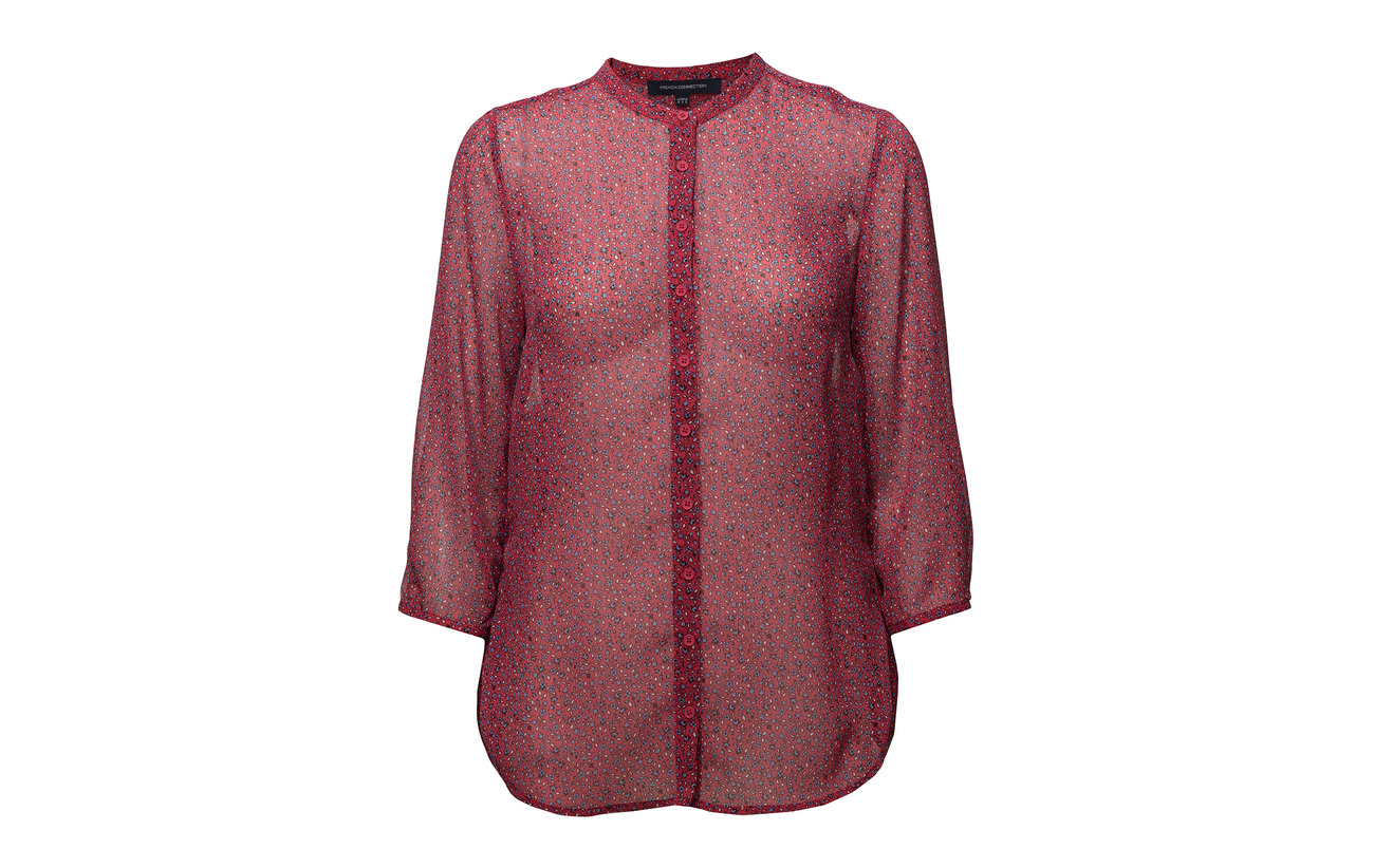 French Collarlss Pink Connection Aubine Shirt 100 Mischief Multi Crinkle Polyester pwprgR