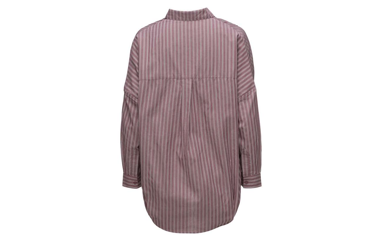 Bega Connection White Bkd French Stripe Dip Hem Cherry w 100 L Coton Shirt d5ZvxZp